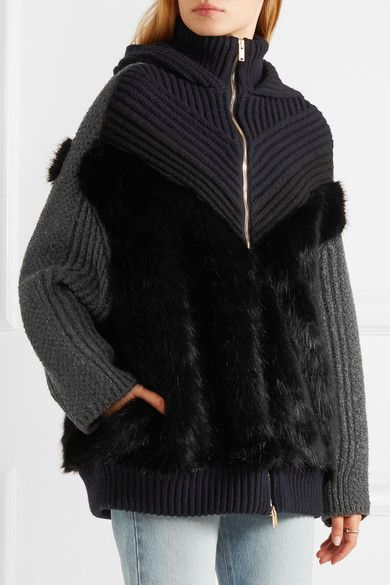 STELLA MCCARTNEY AW 2016 - Midnight-blue, black and gray wool, black faux fur Two-way zip fastening through front Fabric1: 100% wool; fabric2: 95% wool, 4% polyamide, 1% elastane; lining: 52% viscose, 48% cotton Dry clean Imported
