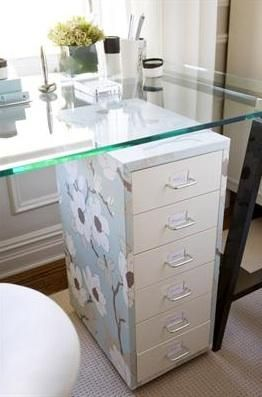 Great idea and space-saving too!  What a great idea to add personality to an otherwise bland file cabinet by covering the sides with wallpaper.  Also coupled with a desk top, this file cabinet serves two purposes.