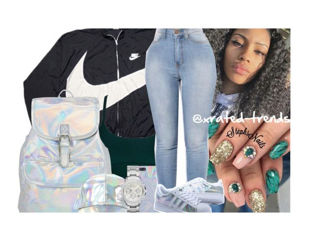 """When Your Holo Asf "" by xrated-trends ❤ liked on Polyvore featuring NIKE and Armani Exchange"