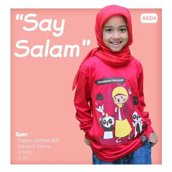 Kaos Anak Muslim Bilhikma AK04 Tema : Say Salam