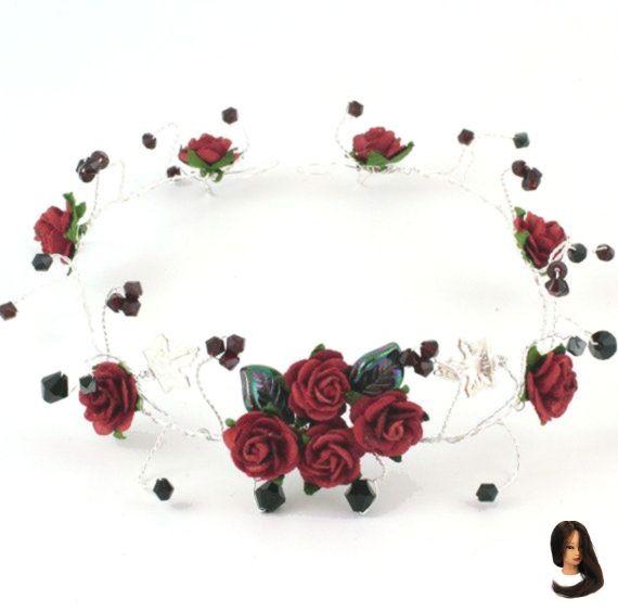 Nouveau rose noire avec cristaux noir silver pearl Tiara