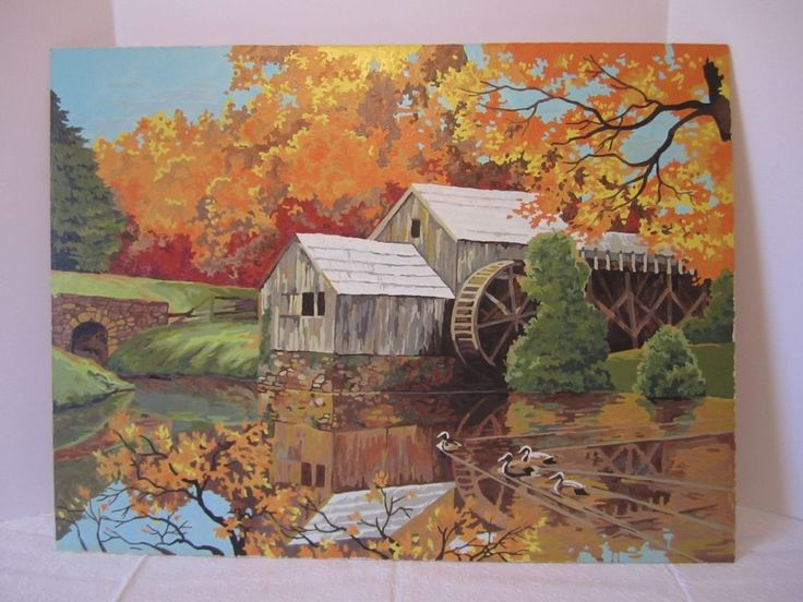 Water wheels, Paint by number and Impressionism on Pinterest
