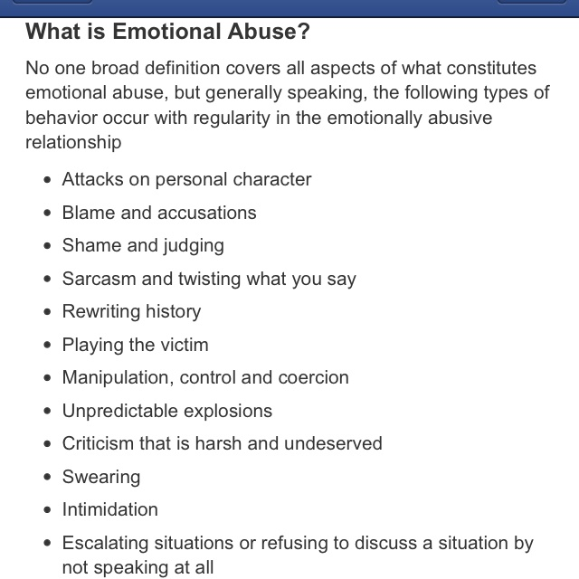 characteristics of an emotionally abusive relationship