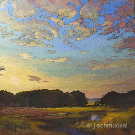 Mission Arts and Crafts CRAFTSMAN Wetland Sunset - Giclee Art PRINT of Original Landscape Painting matted 12x12 by Jan Schmuckal Please visit my website www.artreproductionservices.com for details.