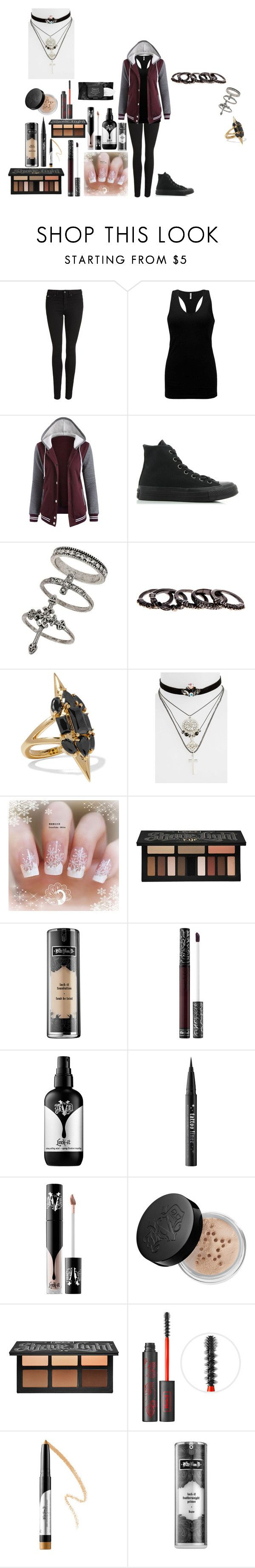 """""""Emo outfit #136"""" by in-seva on Polyvore featuring Superdry, BKE, Converse, Miss Selfridge, Free Press, Noir Jewelry, Topshop and Kat Von D"""