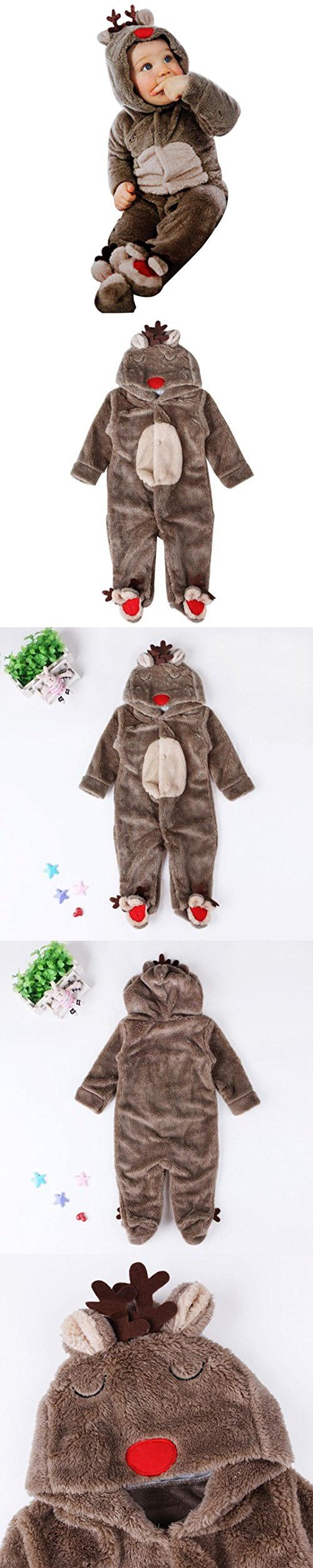 GBSELL Newborn Baby Boys Girls Winter Warm Deer Romper Pajamas Clothes Snowsuit (Coffee, 12M) so cute outfit