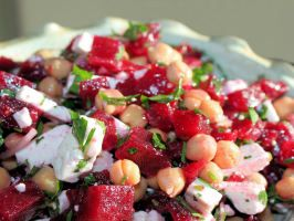 Chickpea Beetroot Salad. Good reviews. has apple, beets, feta, chickpeas