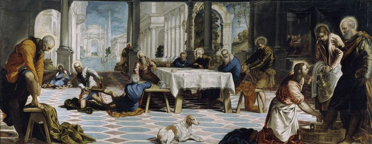 The Foot Washing by Jacopo Comin Tintoretto (1548-1549) Museo Nacional del Prado, Madrid. This scene from the New Testament (John 13:1-20) shows the moment just before the Last Supper, when Jesus washed Saint Peter's feet as an example of humility and service to others.