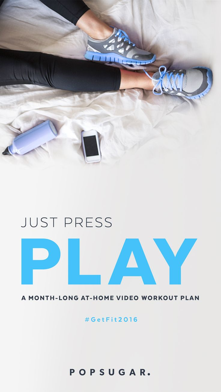 A monthlong workout plan that you can do at home! All you have to do is play the video workout for the day and get at it! The plan gets harder and workouts (strength training, cardio, yoga) as you get stronger. Plus to chill days a week.