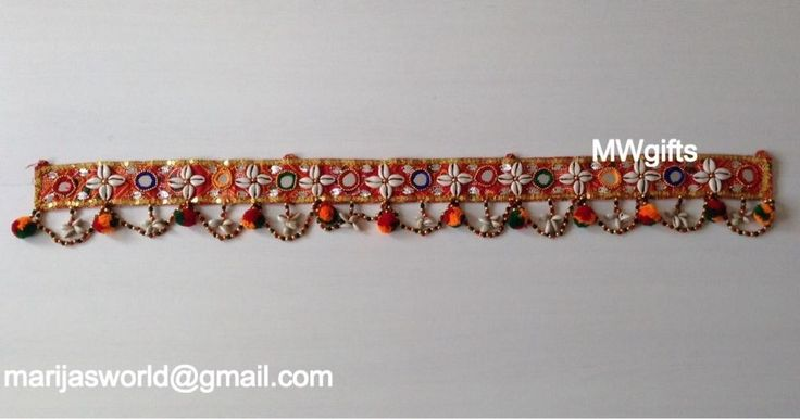 Decoration for Window Door Frame with Cowrie Shells, Beads and Vibrant Pom Poms