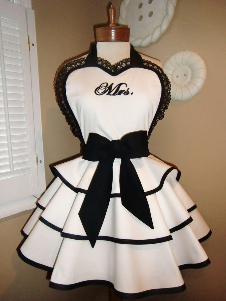 Buy for Bel's wedding shower when I get home.     Mrs. Personalized Womans Retro Apron With Triple Tiered Skirt And Bib...Perfect Bridal Shower Gift, Plus Sizes Available. $75.00, via Etsy.