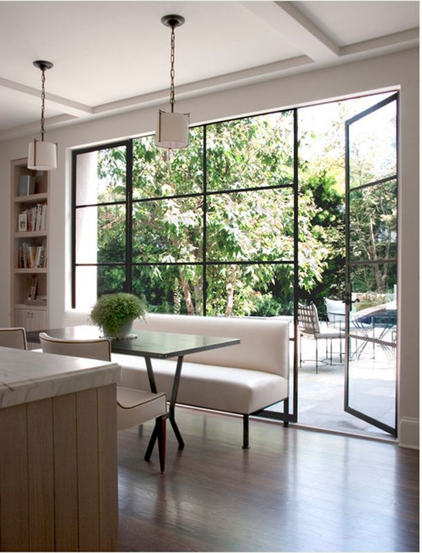 Side return extension / steel framed French doors Love these doors. A bit different to the ubiquitous bi-folding doors.