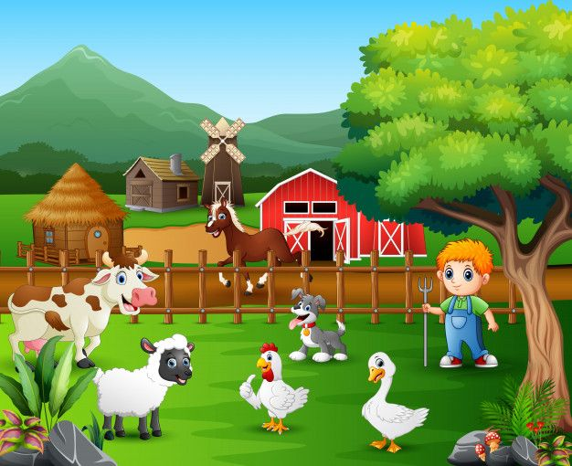 Cartoon Of A Farmer At His Farm With A Bunch Of Farm Animals Farm Vector Guessing Games For Kids Picture Composition
