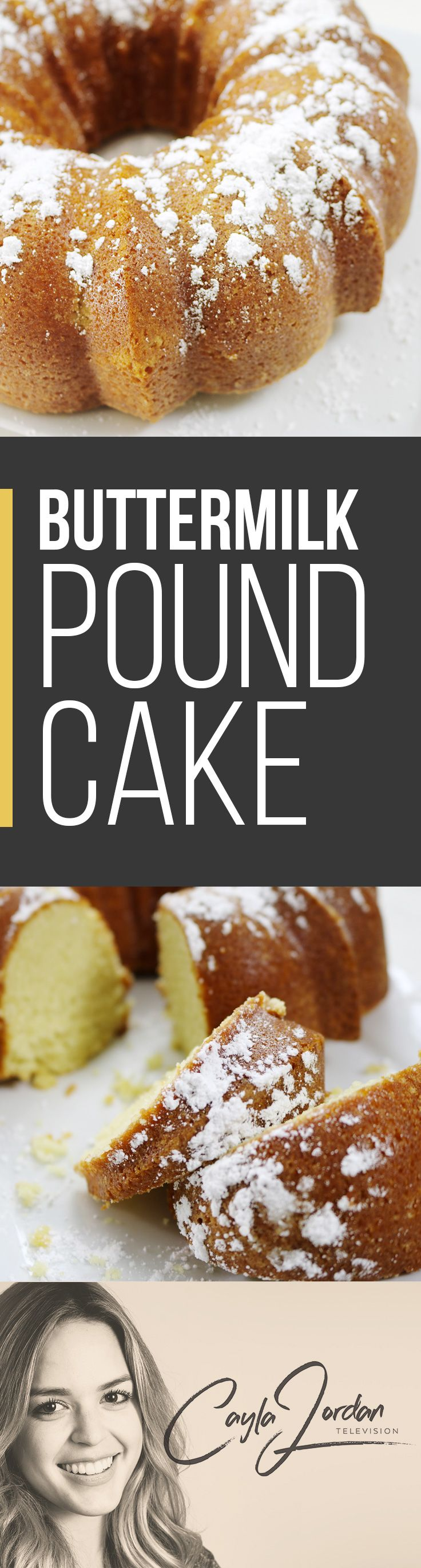 Watch this video tutorial for the BEST melt in your mouth Buttermilk Pound Cake!!!  Go to www.caylajordan.tv for more. Perfect dessert if you don't want to spend a lot of time decorating a cake.