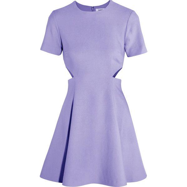 Elizabeth and James - Leonie Cutout Stretch-piqué Mini Dress ($164) ❤ liked on Polyvore featuring dresses, lavender, boyfriend dress, purple dresses, cut-out dresses, short purple dresses and cutout dresses