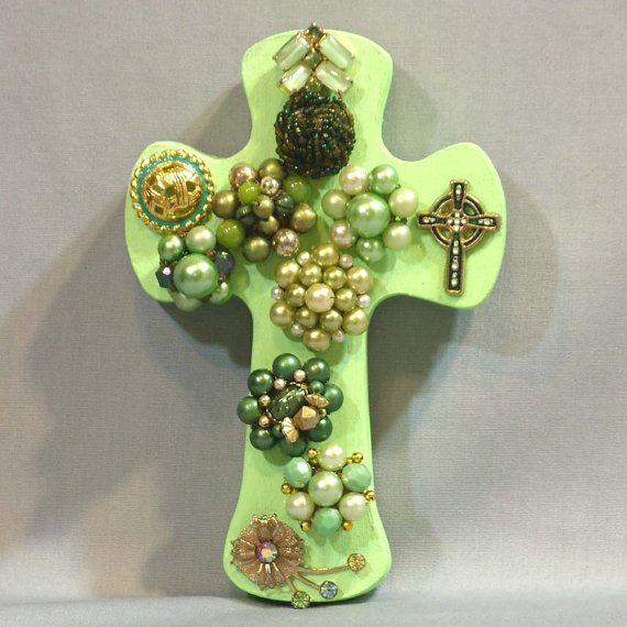 light green cross Light Green Wall Cross with by ElisaAlvarado, $16.00