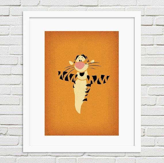 Winnie the Pooh Minimalist Artwork Print - Tigger Vintage Retro Style Poster Print Collection, Home wall Nursery art https://www.etsy.com/shop/TheRetroInc