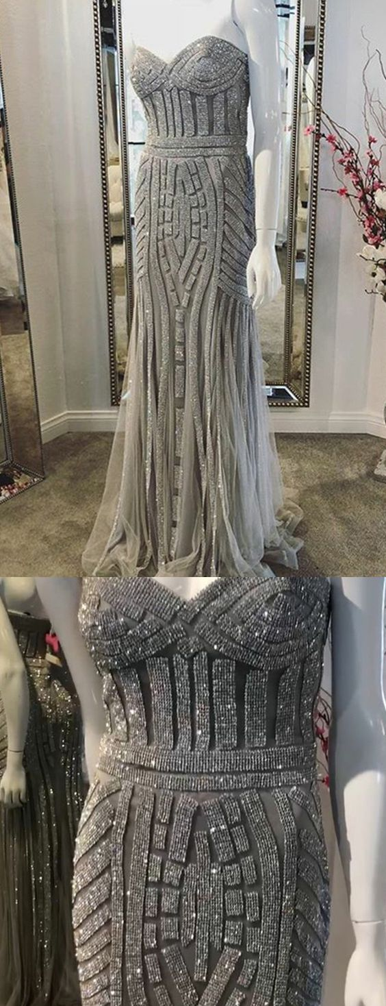 Mermaid Sweetheart Sweep Train Grey Prom Dress with Sequins P1749