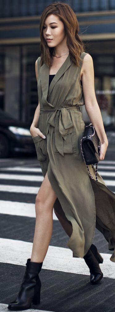 Olive Duster Dress Fall Inspo by Tsangtastic