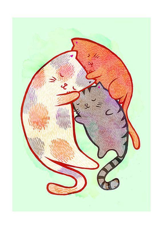 Chat famille 5 x 7 Illustration Print par MyZoetrope sur Etsy, $10.00