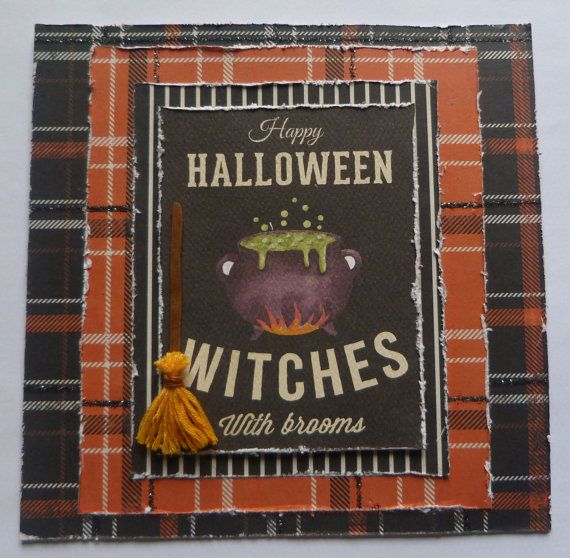 Witches Broom Card Halloween Witch Wicthes by TheArtOfBeinAGirl #witchescard, #handmadehalloweencard