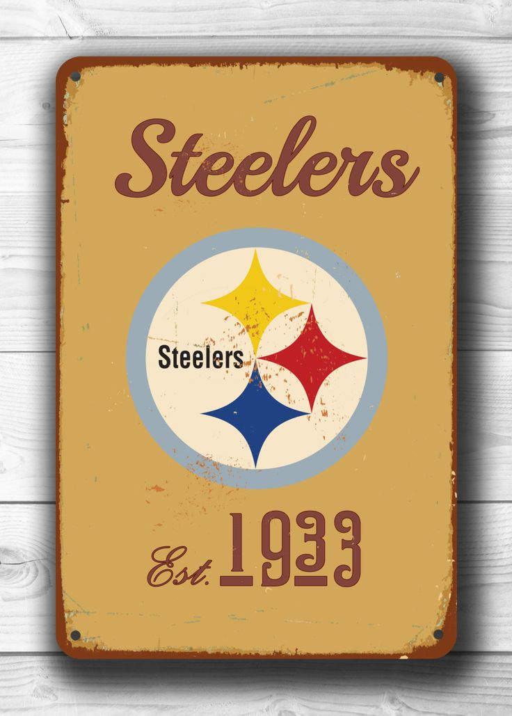 Vintage style PITTSBURGH STEELERS Sign, Pittsburgh Steelers Sign Est.1933 Composite Aluminum Vintage Pittsburgh steelers signShips WORLDWIDE by FanZoneSigns on Etsy