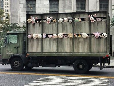 Banksy uses toy animals to highlight animal cruelty and factory farming. Kind of upset I didn't think about this.