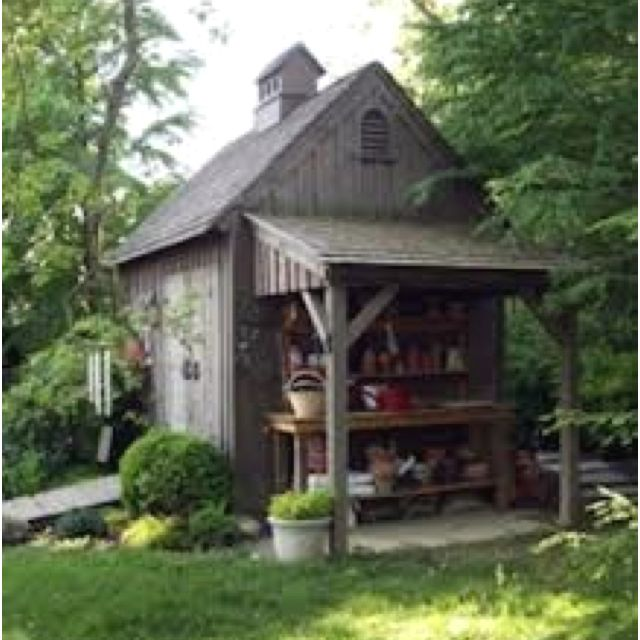 Garden shed with added lean-to ... #gardening #potting shed #potting bench