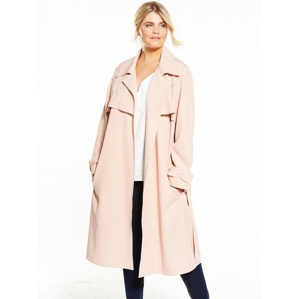 V By Very Curve Soft Trench Coat ($35) ❤ liked on Polyvore featuring outerwear, coats, lightweight coat, lightweight trench coat, pink coat, trench coat and pink trench coat