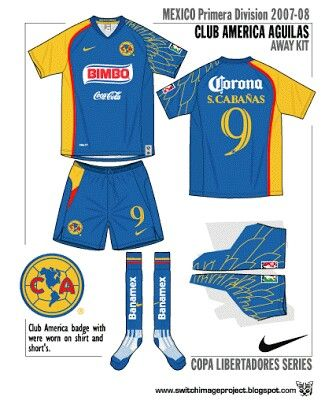 Club America Aguilas of Mexico away kit for 2007-08.