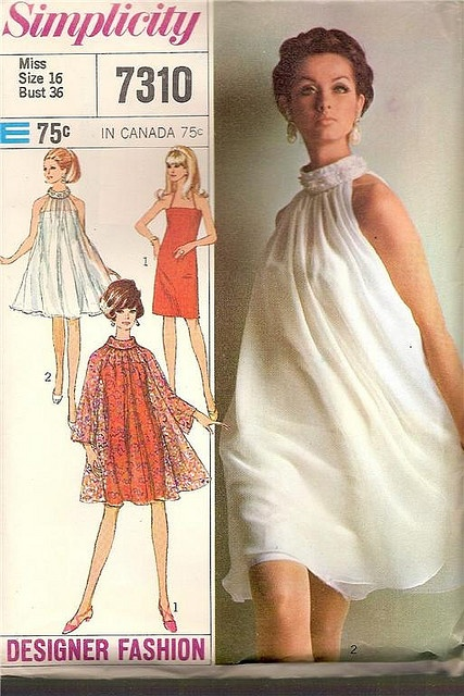 Vintage sewing pattern: 1960s sheer overlay dress