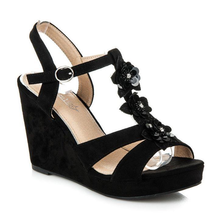 Klinové sandále s kvetmi B501B