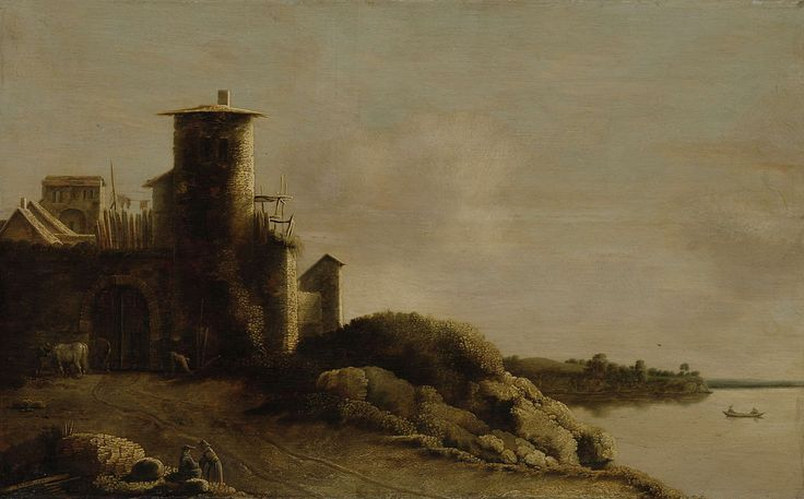 Claude de Jongh | Landscape, Claude de Jongh, 1633 | Landschap met een rivier en een Italiaanse boerderij met een ronde toren. Links langs de weg maken twee personen een praatje.