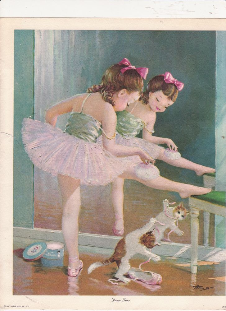 This lovely, vintage ballet print would be stunning hanging on the wall of a little girl's room.
