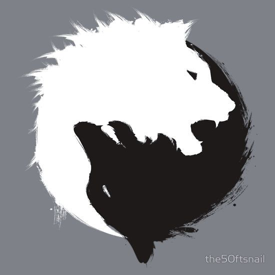 The Wolf and The Lion: Minimalist Yin Yang Inspired T-Shirt Design by the50ftsnail print available here