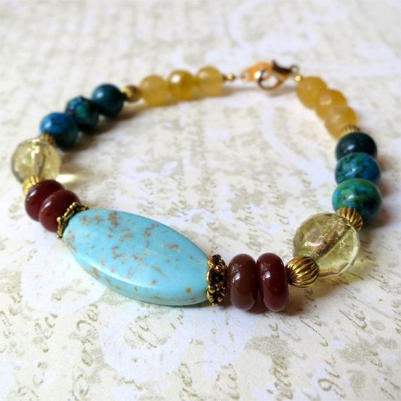 Bracelet turquoise howlite and yellow stone. by planettreasures