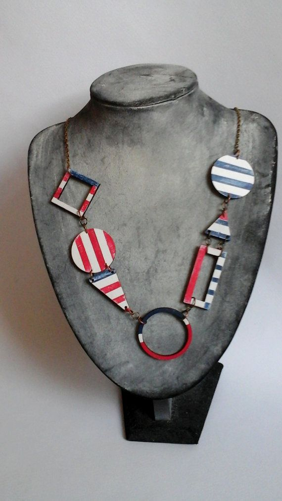 Geometrische nautische Bib ketting hout handbeschilderd