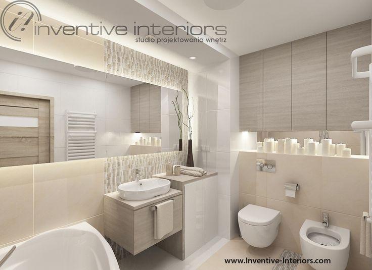 Projekt łazienki Inventive Interiors - beżowa łazienka z mozaiką