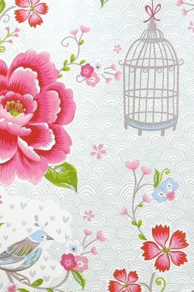 313012 birds in paradise wit eijffinger pip studio behang vogel bloemen roos rozen paradijs  www.wemekampschildersbedrijf.nl