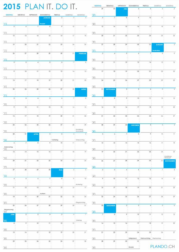 Jahreskalender 2015 im Hochformat als PDF herunterladen und ausdrucken   PLANDO.CH #Kalender