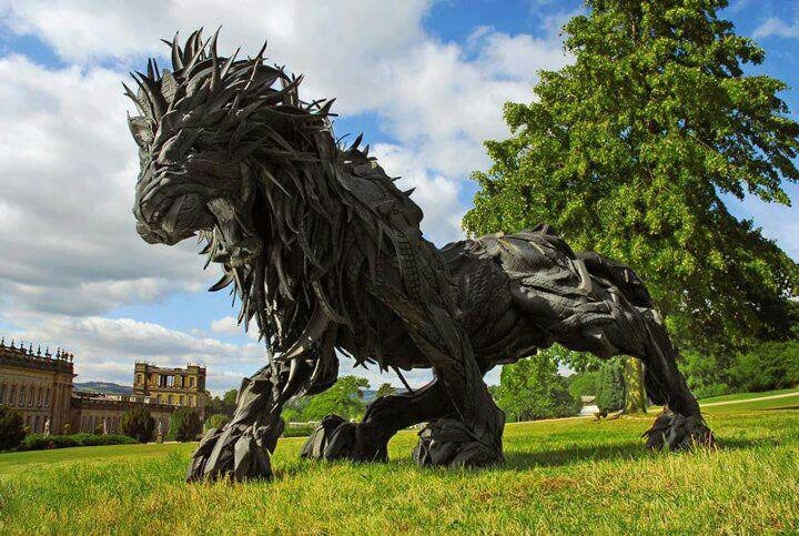 Amazing sculture made of old tires