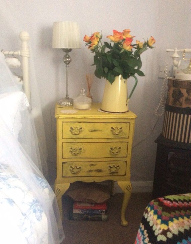 English Yellow bedside table Annie Sloan
