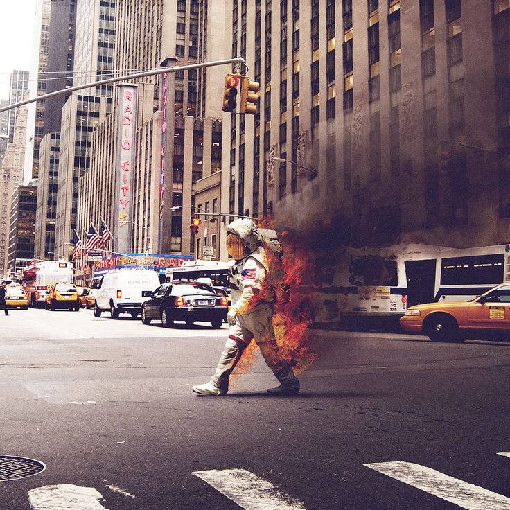 Astronaut on Fire Crossing the Street by Jack Crossing: Burning Man, New York Cities, Cities Photography, Graphicdesign, Graphics Design, Radios, Jack O'Connel, Newyork, Music Hall