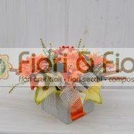 Composizione fiori artificiali Gaia arancio