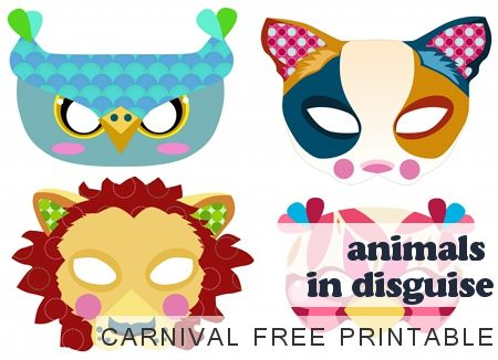 wonderful carnival masks to download and print - spruced the cute designs up with some glitter and craft gems with my girls