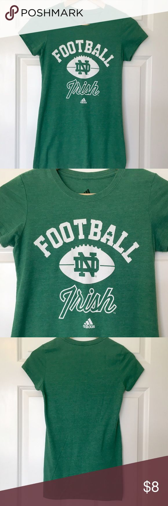 Women's Adidas Notre Dame Football T-Shirt - Sz S Women's Adidas Notre Dame Fighting Irish football t-shirt. Green with white logo and writing. Only worn once. Excellent condition. Size small. Adidas Tops Tees - Short Sleeve