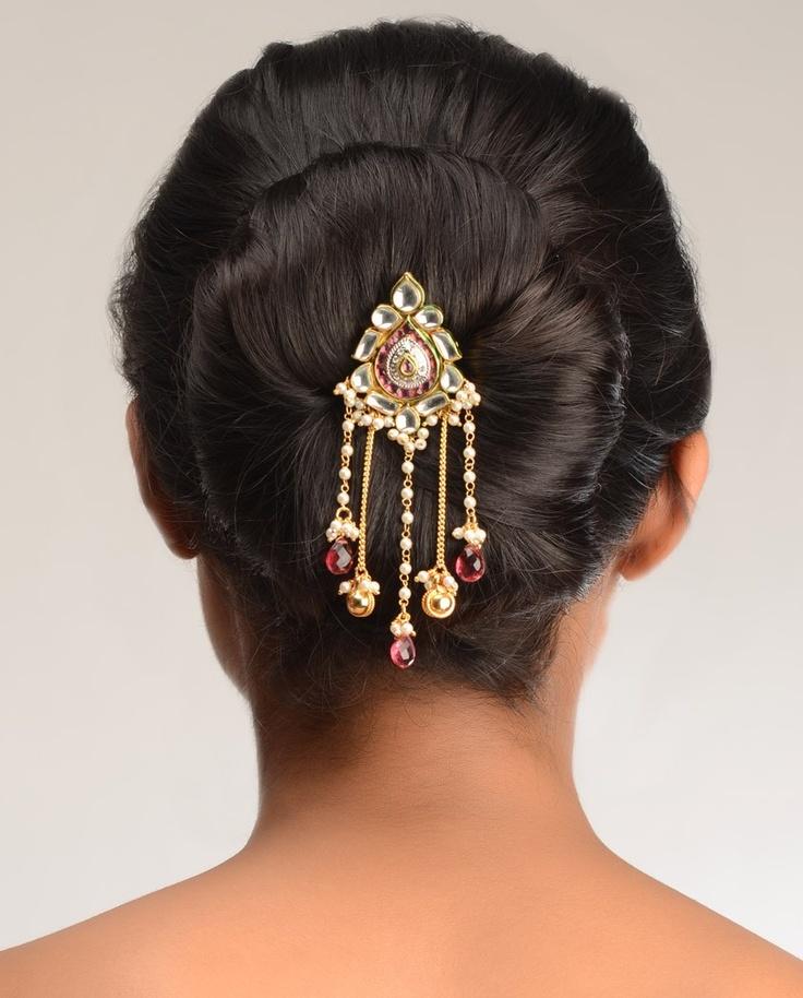 Naina Kundan Hair Pin  by Bansri Joaillerie