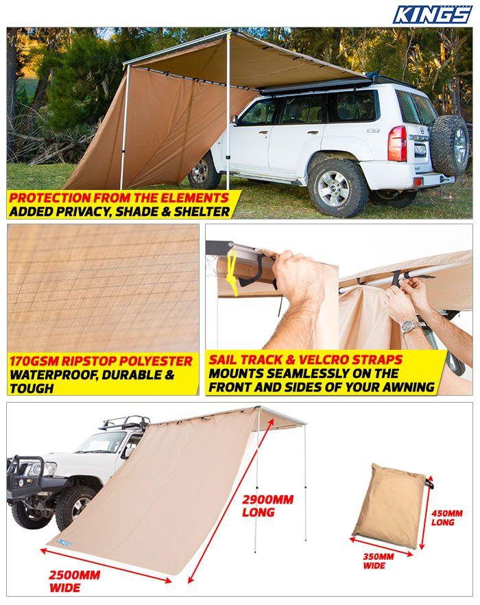 Adventure Kings Awning Side Wall Waterproof 2900mm X 2500mm 4wd Supacentre Wall Waterproofing Awning Truck Tent