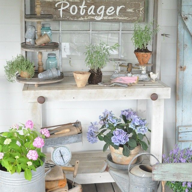 Spending a lot of time out here lately. One of my favorite #outdoorspaces on our deck :) #showcaseyourspace  #pottingbench #potager #gardening #farmhousefresh #floralfridaycompetition #bucketsofburlap