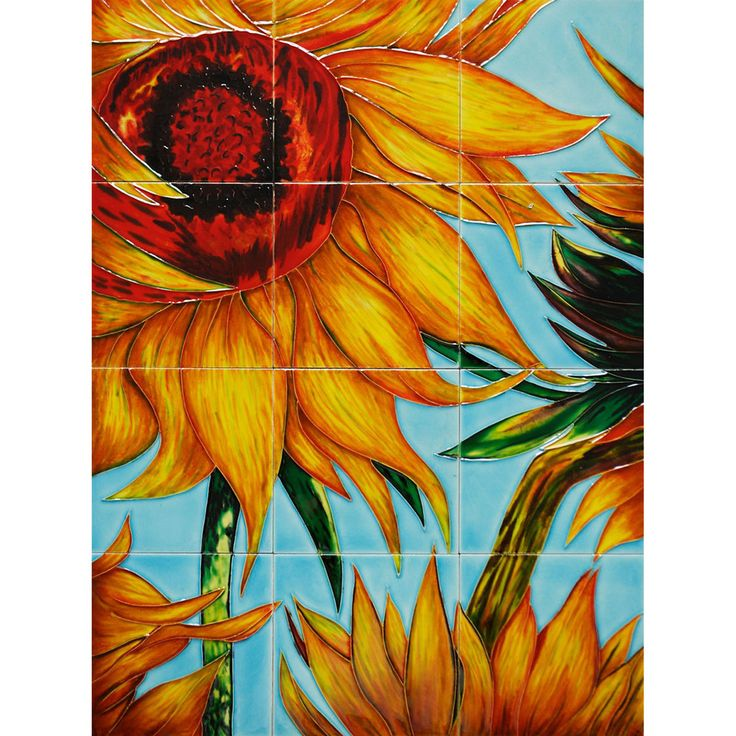 Van Gogh 'Sunflowers' Mural Wall Tiles | Overstock.com